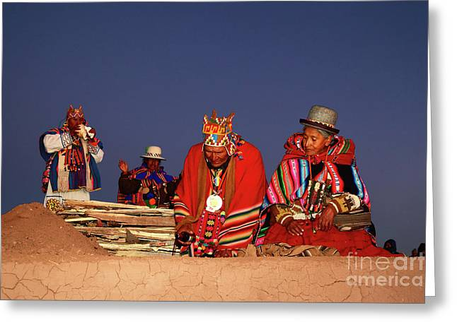 Aymara New Year Ceremonies Bolivia Greeting Card by James Brunker