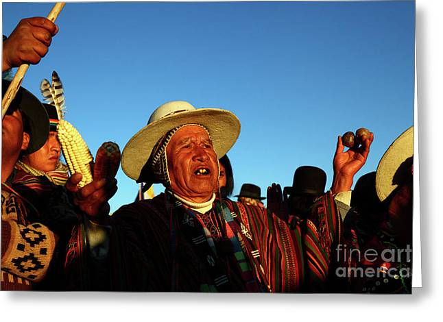Aymara New Year Harvest Thanksgiving Bolivia Greeting Card by James Brunker