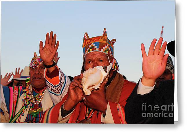 Aymara Shaman Portrait Bolivia Greeting Card by James Brunker