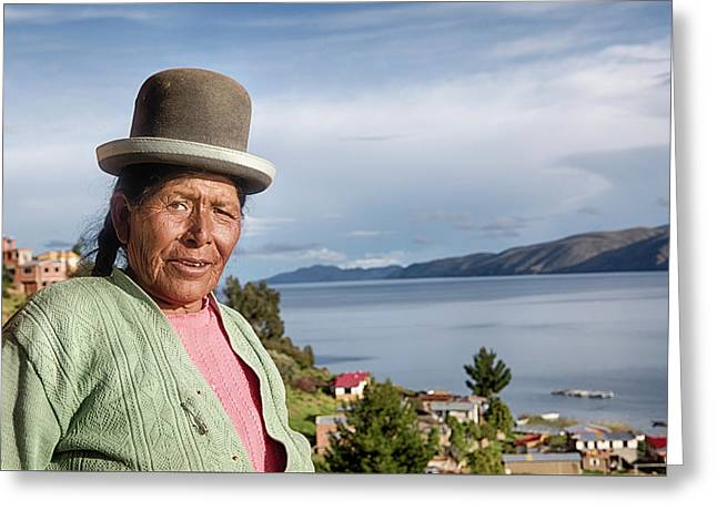 Aymara Women With Traditional Hat Greeting Card