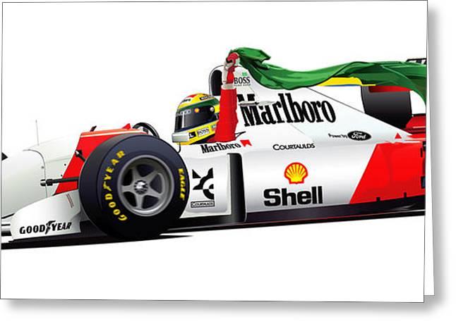 Ayrton Senna Illustration Greeting Card by Alain Jamar