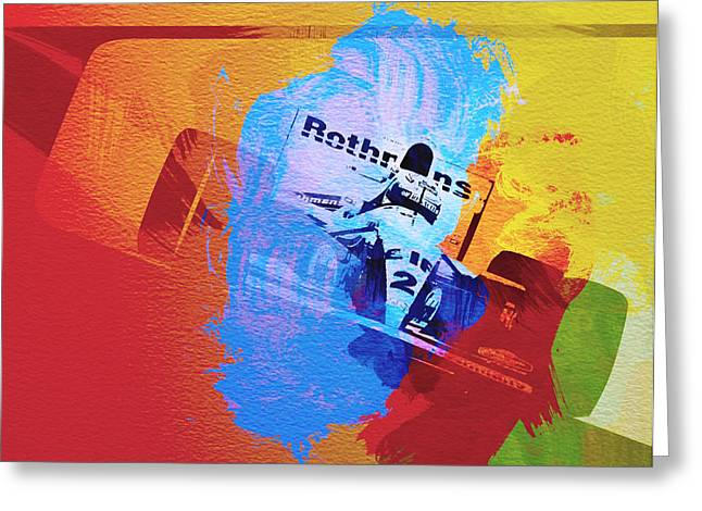 Cylinder Greeting Cards - Ayrton Senna Greeting Card by Naxart Studio