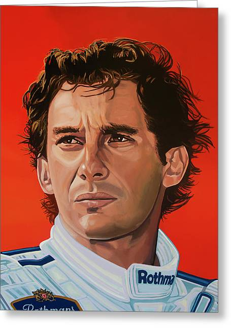 Ayrton Senna Portrait Painting Greeting Card by Paul Meijering