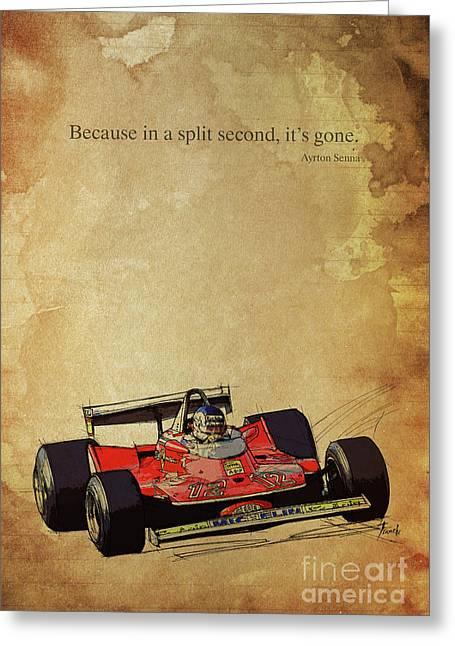 Ayrton Senna Quote, Ferrari F1 Race Car, Red Ferrari Racing Greeting Card by Pablo Franchi
