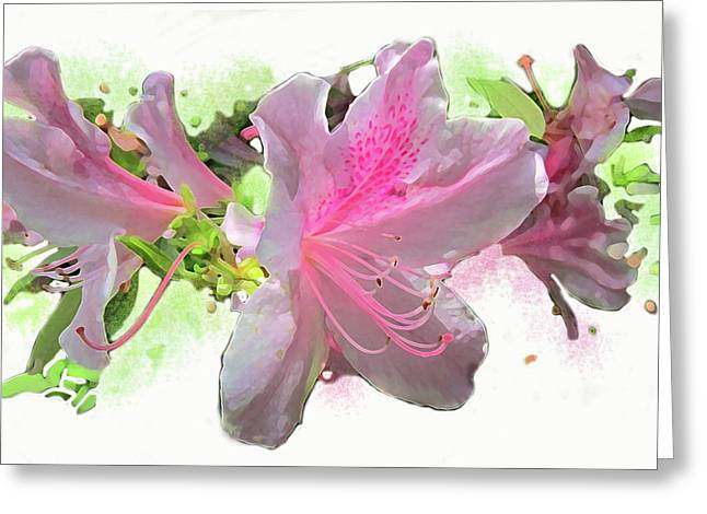 Greeting Card featuring the digital art Azalea #2 by Gina Harrison