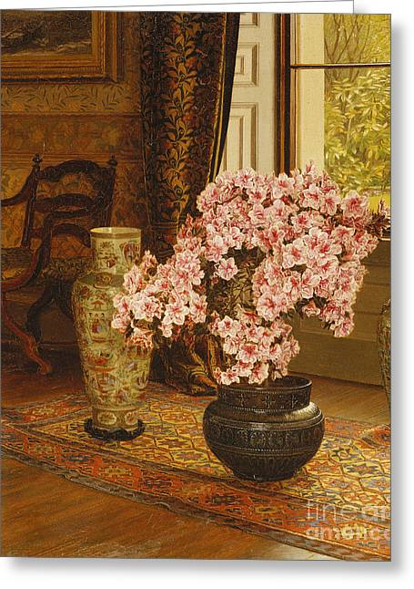 Azalea In A Japanese Bowl, With Chinese Vases On An Oriental Rug Greeting Card