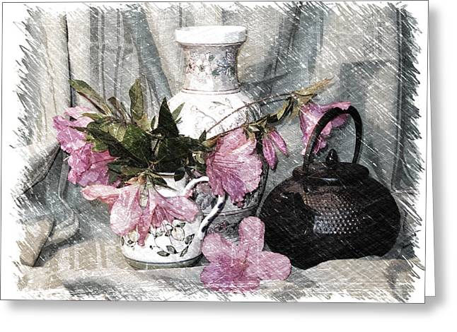 Azaleas And Teapot Greeting Card by Pat Exum