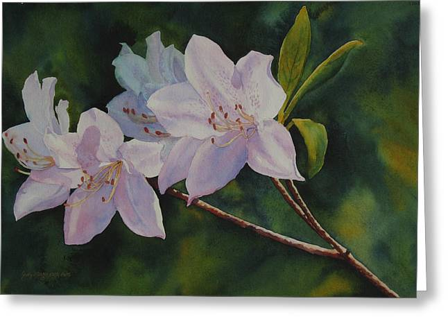 Greeting Card featuring the painting Azaleas by Judy Mercer