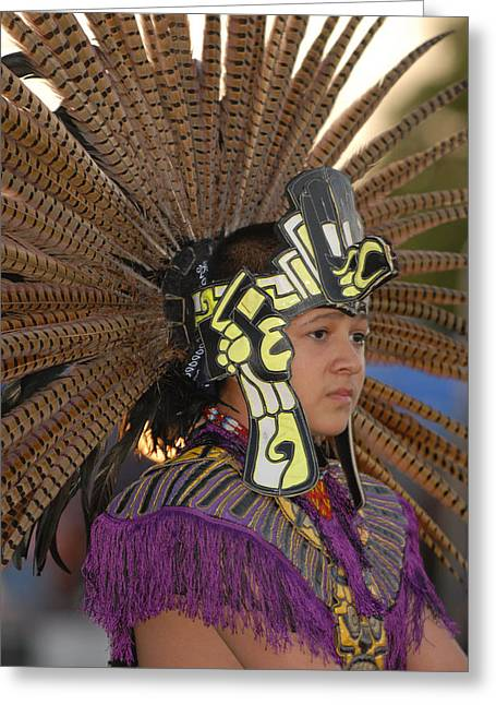Aztec Dancer Greeting Card by Dennis Hammer