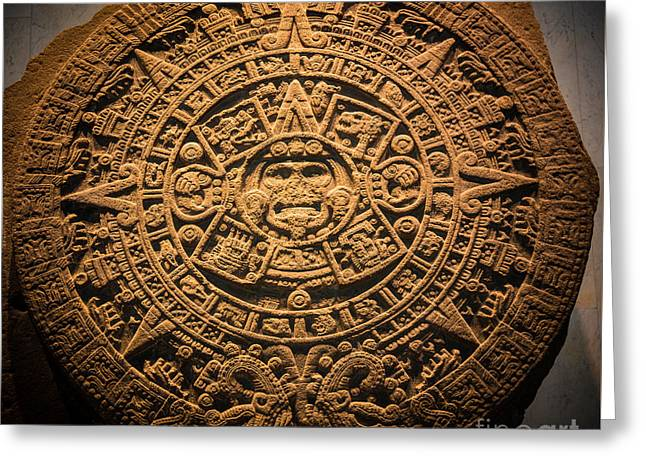 Aztec Stone Of The Sun  Greeting Card by Inge Johnsson