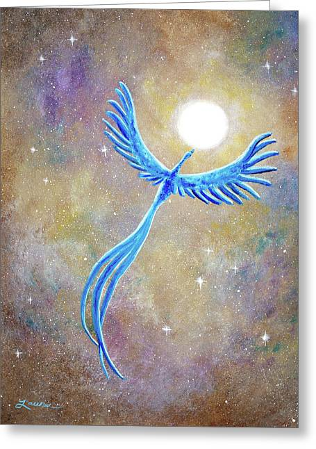 Azure Blue Phoenix Rising Greeting Card by Laura Iverson