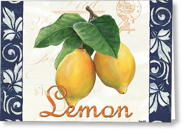 Postmarks Greeting Cards - Azure Lemon 1 Greeting Card by Debbie DeWitt
