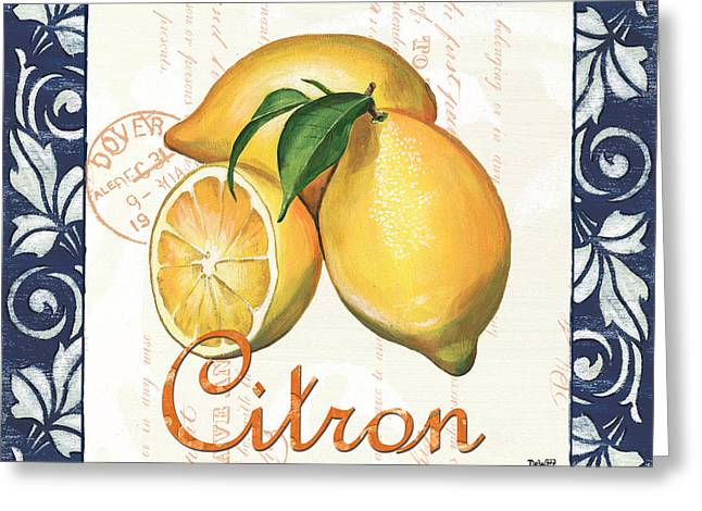 Postmarks Greeting Cards - Azure Lemon 2 Greeting Card by Debbie DeWitt