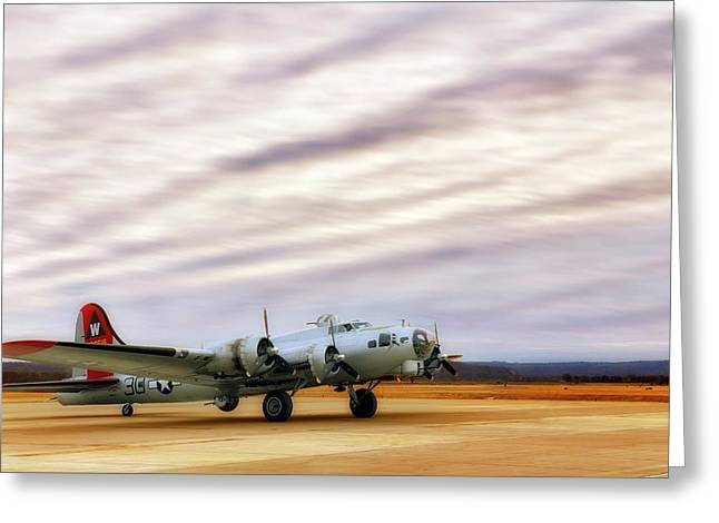 Greeting Card featuring the photograph B-17 Aluminum Overcast - Bomber - Cantrell Field by Jason Politte