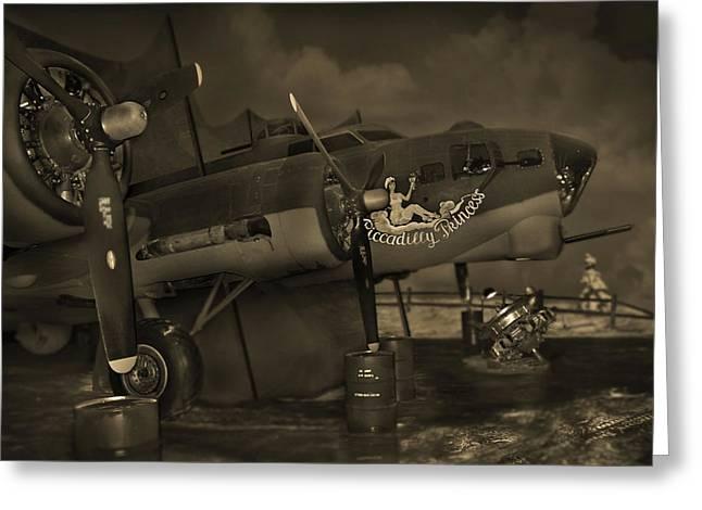 B - 17 Field Maintenance  Greeting Card by Mike McGlothlen