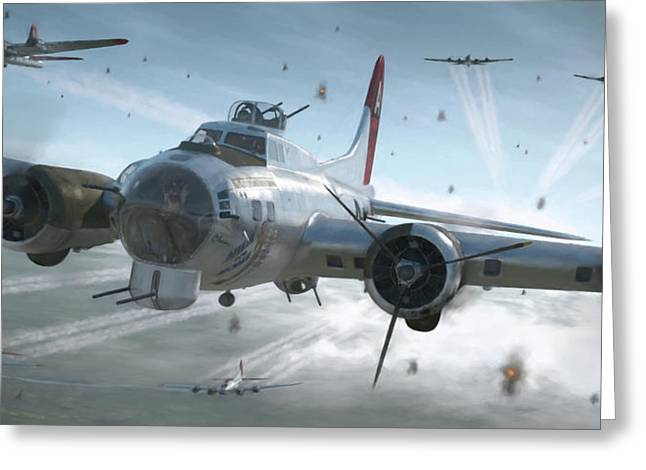 B-17g Hikin' For Home - Painterly Greeting Card