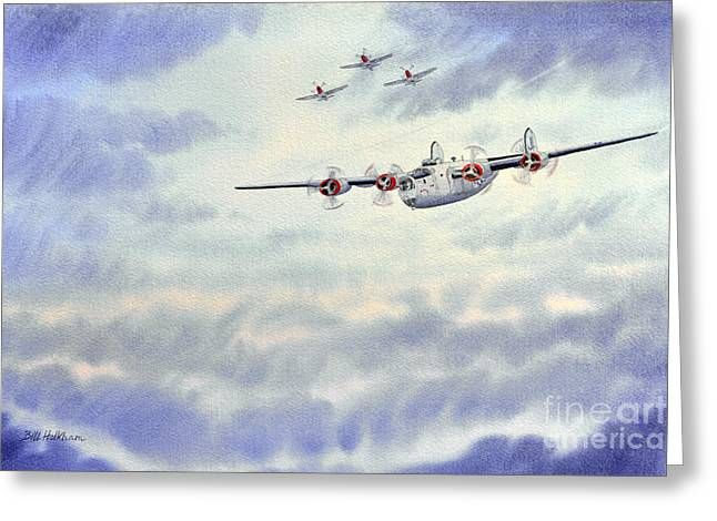 B-24 Liberator Aircraft Painting Greeting Card by Bill Holkham