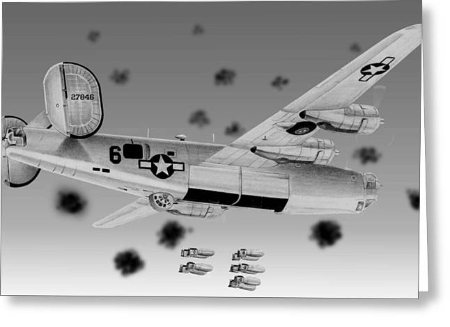B-24 Greeting Card by Lyle Brown