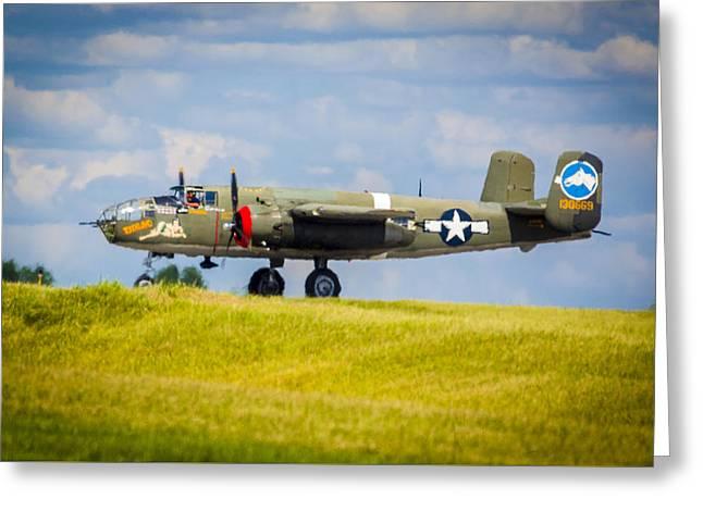 B-25 Landing Original Greeting Card