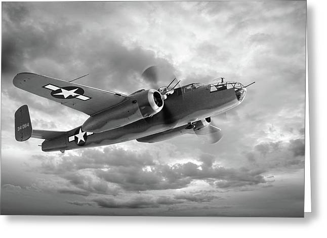 B-25 Mitchell In Black And White Greeting Card