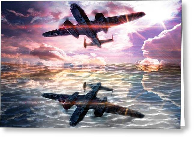 Greeting Card featuring the digital art B-25b Usaaf by Aaron Berg