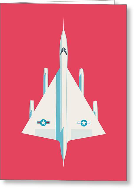 B-58 Hustler Supersonic Jet Bomber - Crimson Greeting Card