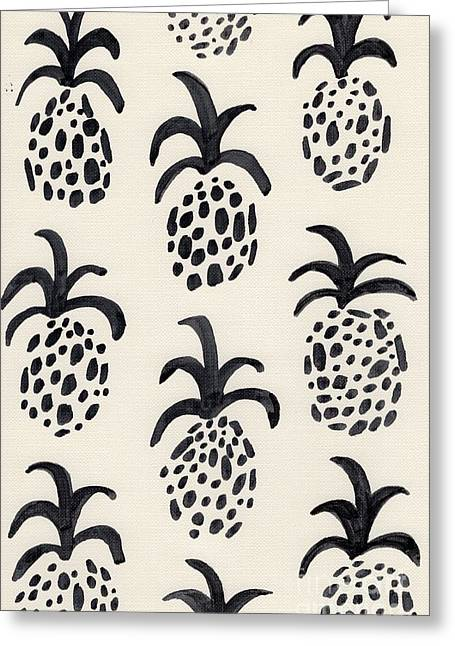B And W Pineapple Print Greeting Card by Anne Seay