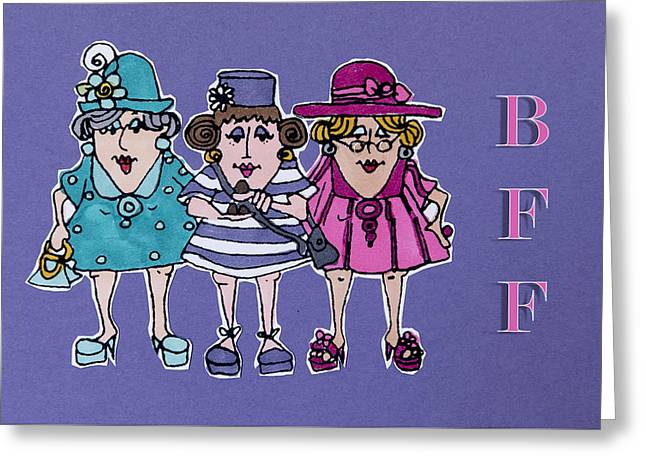 B F F - Best Friends Forever Greeting Card by Jon Berghoff