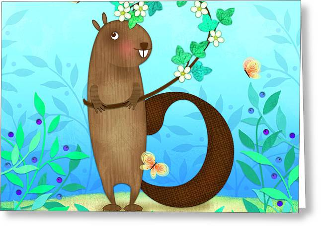B Is For Beaver With A Blossoming Branch Greeting Card
