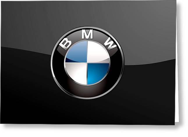 B M W  3 D Badge On Black Greeting Card by Serge Averbukh