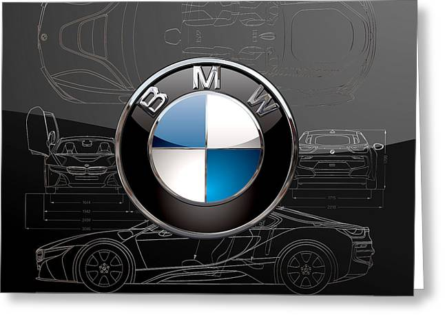 B M W  3 D  Badge Over B M W I8 Silver Blueprint On Black Special Edition Greeting Card