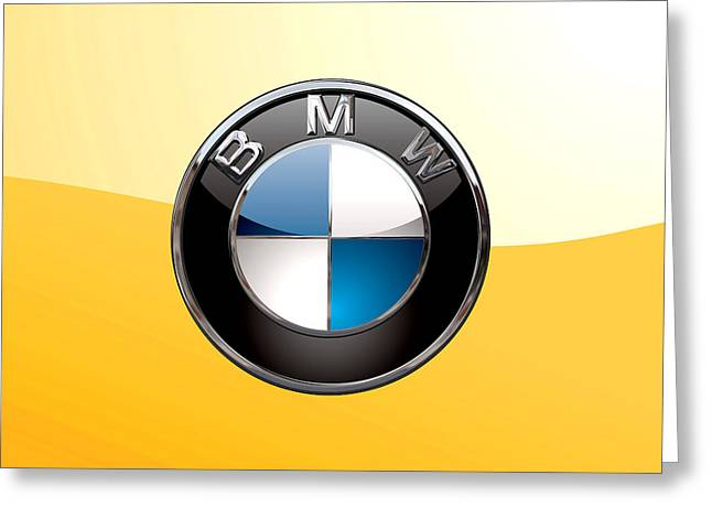 B M W  3 D Badge Special Edition On Yellow Greeting Card by Serge Averbukh