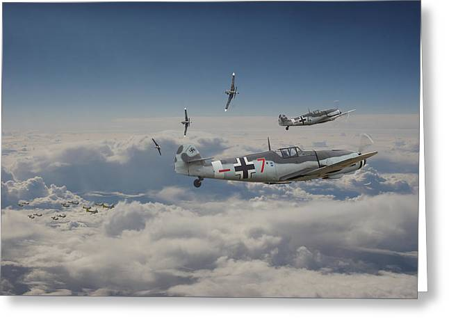Greeting Card featuring the digital art B17 - Luftwaffe Battleground by Pat Speirs