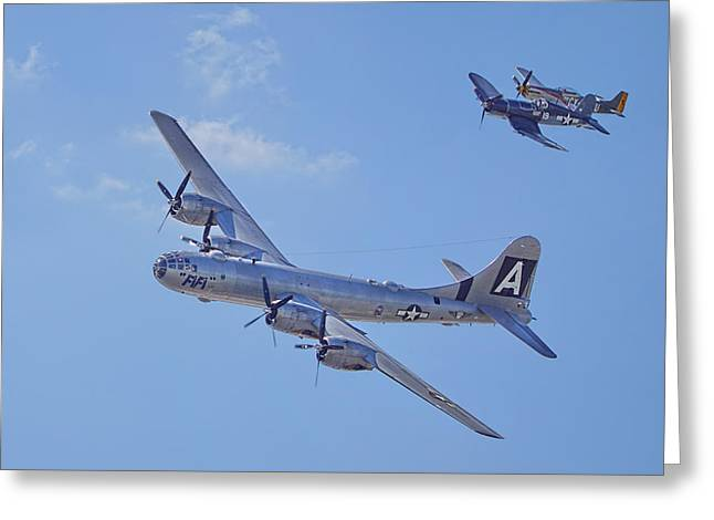 B29 Superfortress, P51 Mustang And F4u Corsair Greeting Card by Alan Hutchins