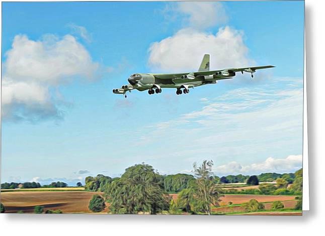 Greeting Card featuring the digital art B52 Stratofortress -2 by Paul Gulliver