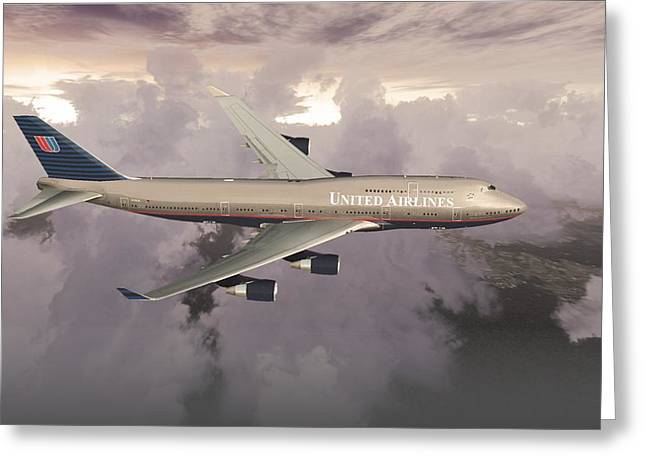 Greeting Card featuring the digital art B747-400  by Mike Ray