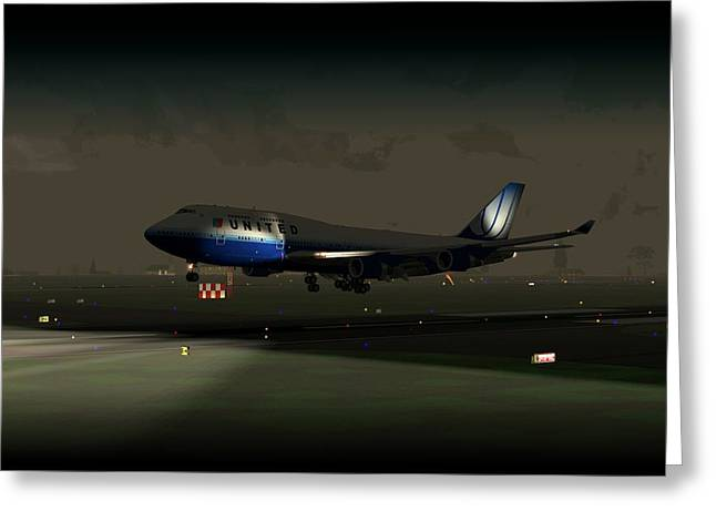 Greeting Card featuring the digital art B747-400 Night Landing by Mike Ray