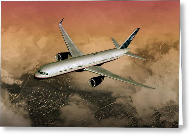 Greeting Card featuring the digital art B757 Dawn Approach by Mike Ray