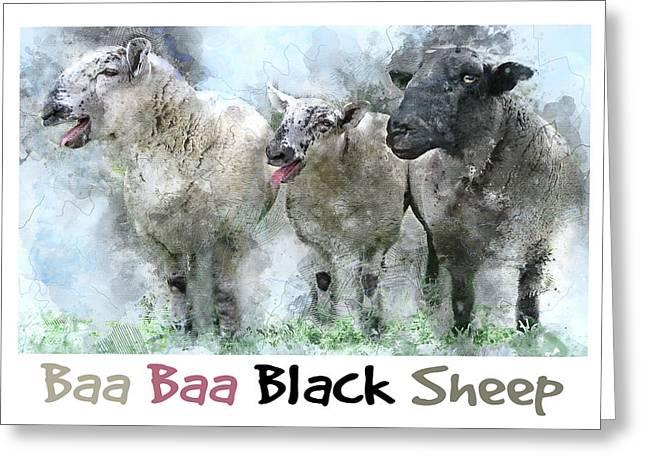Baa, Baa, Black Sheep - Farm Animal Watercolor Greeting Card by Rayanda Arts
