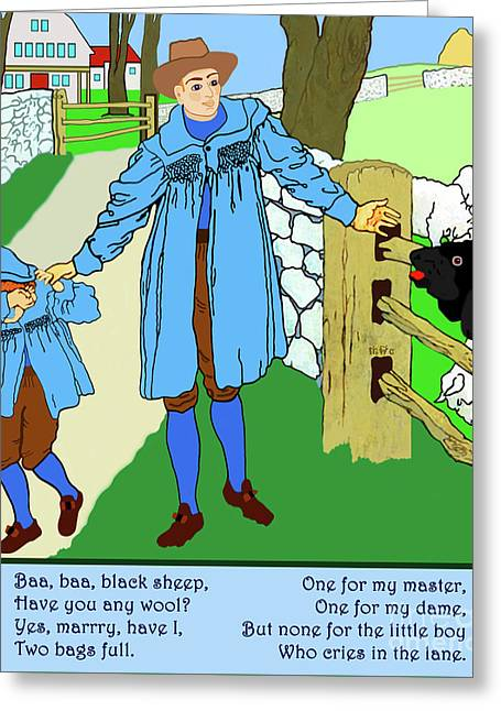 Baa, Baa, Black Sheep Nursery Rhyme Greeting Card