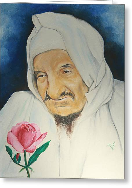 Baba Sali With Rose Greeting Card by Miriam Leah