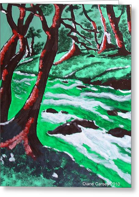 Babbling Paintings Greeting Cards - Babbling Brook Greeting Card by M  D  Artwork