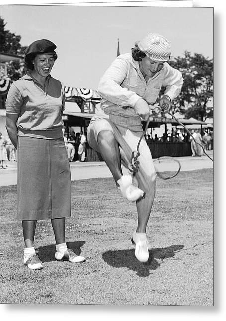 Babe Didrikson Antics Greeting Card