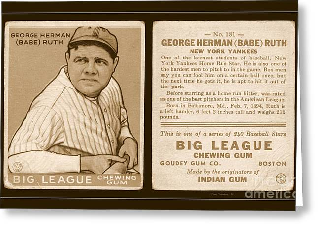 Babe Ruth 1933 Baseball Card Greeting Card