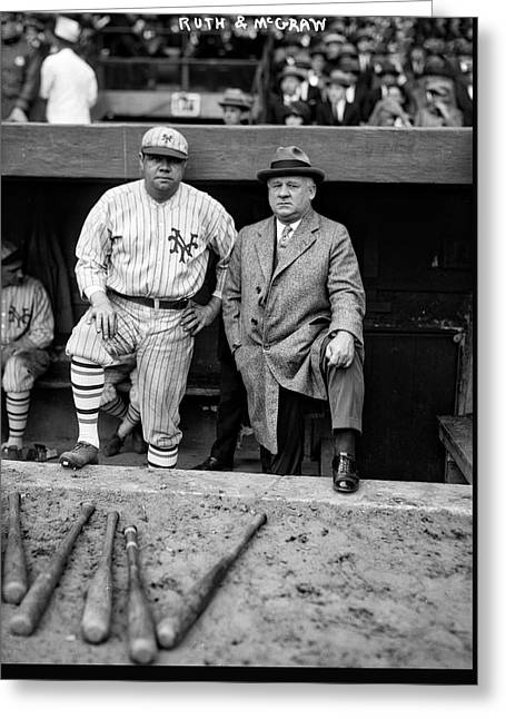 Babe Ruth And John Mcgraw Greeting Card by Mountain Dreams