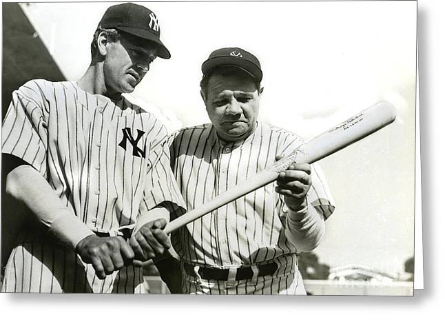 Babe Ruth And Lou Gehrig Greeting Card by Jon Neidert