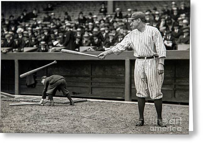 Babe Ruth At Bat Greeting Card by Jon Neidert