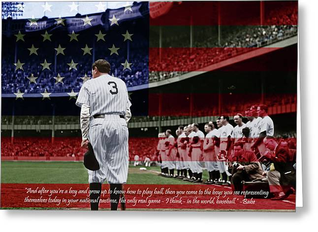 Babe Ruth Baseball Americas Pastime 20170625 Square With Quote Colorized Greeting Card