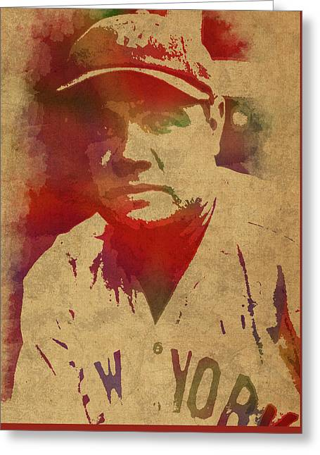 Babe Ruth Baseball Player New York Yankees Vintage Watercolor Portrait On Worn Canvas Greeting Card by Design Turnpike