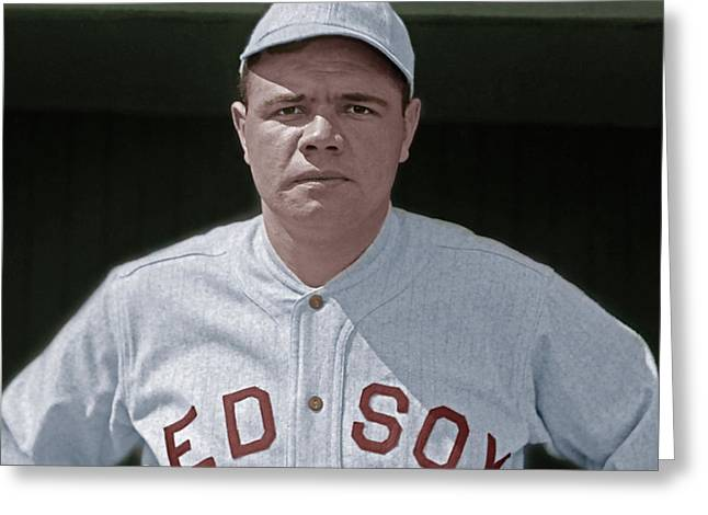 Babe Ruth Boston Red Sox Colorized 20170622 Square Greeting Card